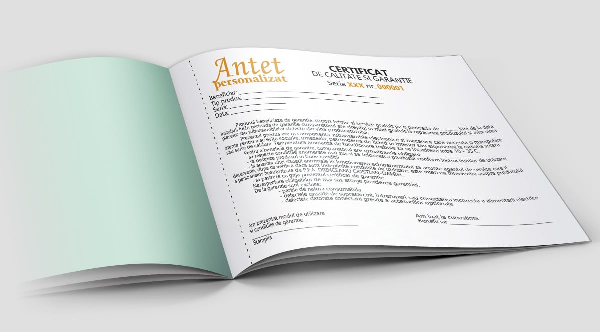 Certificat de calitate garantie - Tipizate personalizate Brasov - Europaper Brasov Centru Print