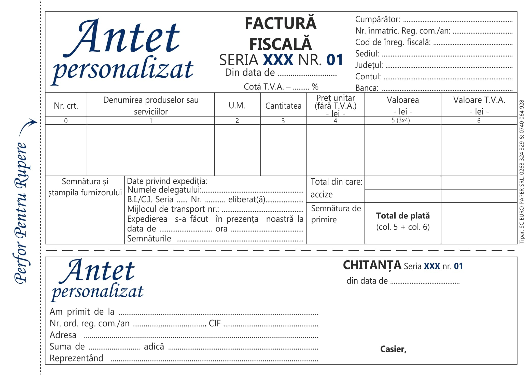 Facturier cu tva cu chitanta personalizat A5 MODEL 1- Tipizate personalizate Brasov - Europaper Brasov Centru Print
