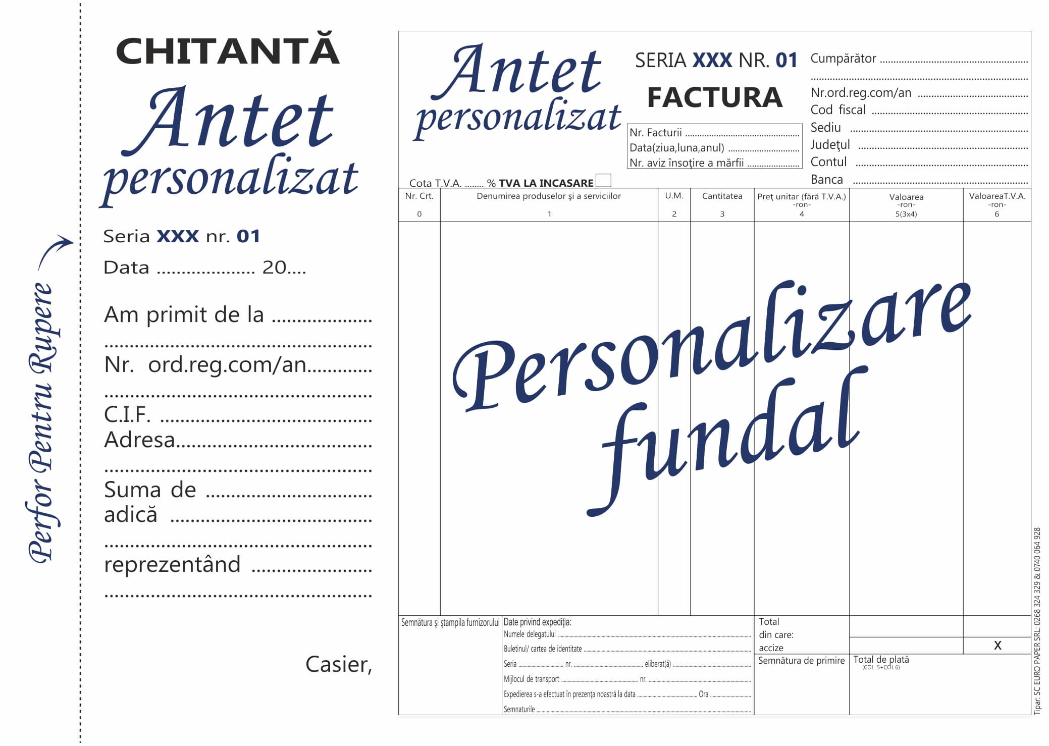 Facturier cu tva cu chitanta personalizat A5 MODEL 2- Tipizate personalizate Brasov - Europaper Brasov Centru Print