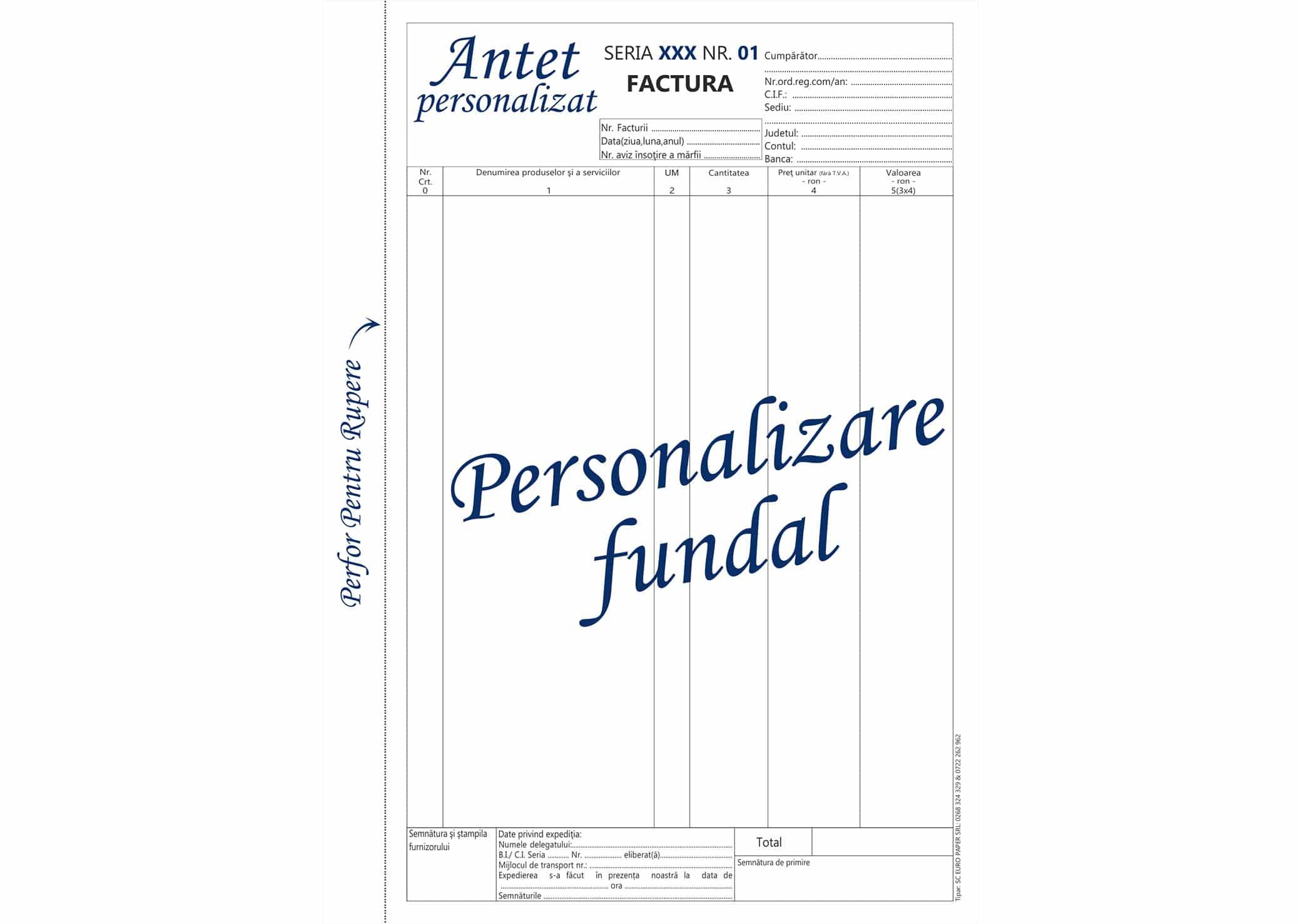 Facturi fara TVA personalizate A4 - Tipizate personalizate Brasov - Europaper Brasov Centru Print