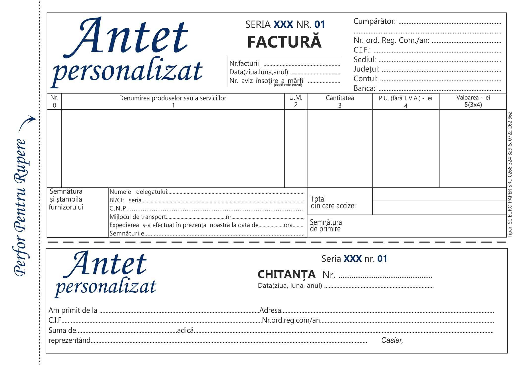 Facturier fara tva cu chitanta personalizat A5 MODEL 1- Tipizate personalizate Brasov - Europaper Brasov Centru Print