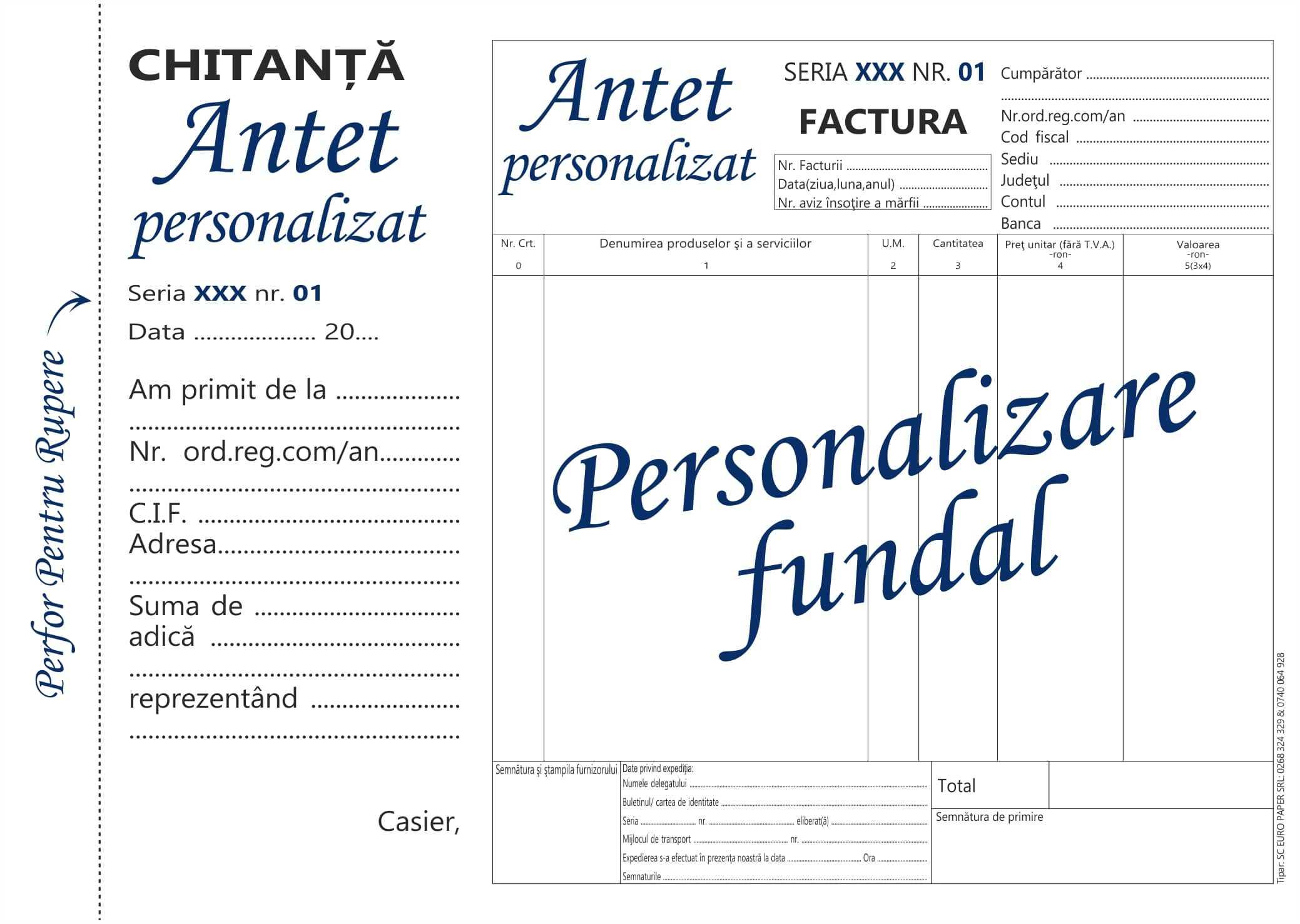 Facturier fara tva cu chitanta personalizat A5 MODEL 2- Tipizate personalizate Brasov - Europaper Brasov Centru Print