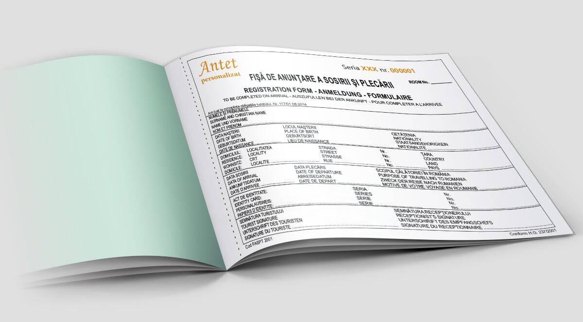 Fise anuntare a sosirii turistilor si plecarii turistilor - Tipizate personalizate Brasov - Europaper Brasov Centru Print