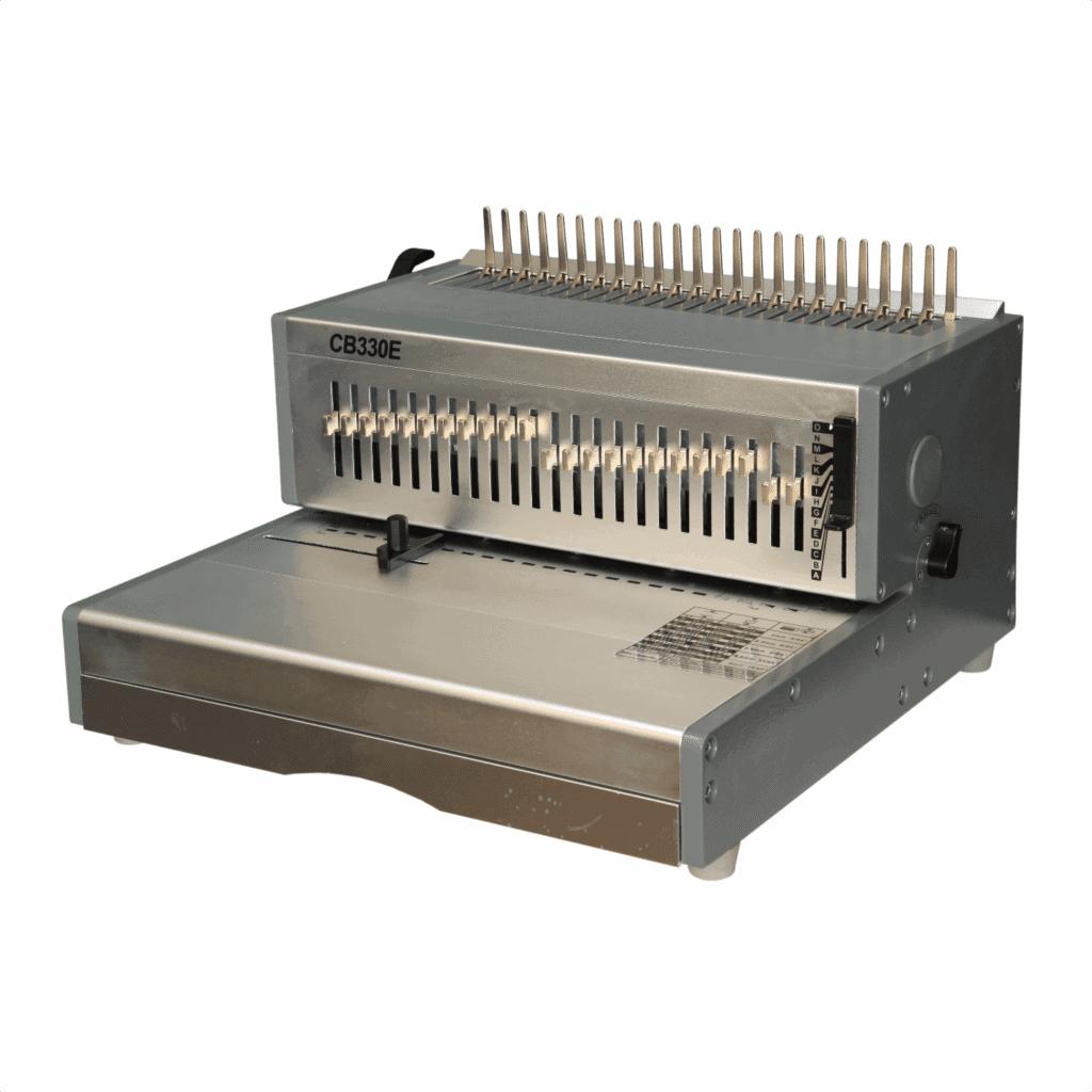 Aparat indosariat electric CB330E pentru indosariat cu inele din plastic - Europaper Brasov - Utilaje Finisare Print