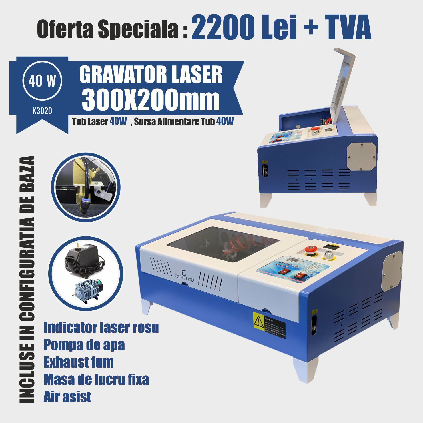Gravator Laser K6040 60W - Europaper Brasov - Utilaje Finisare Print