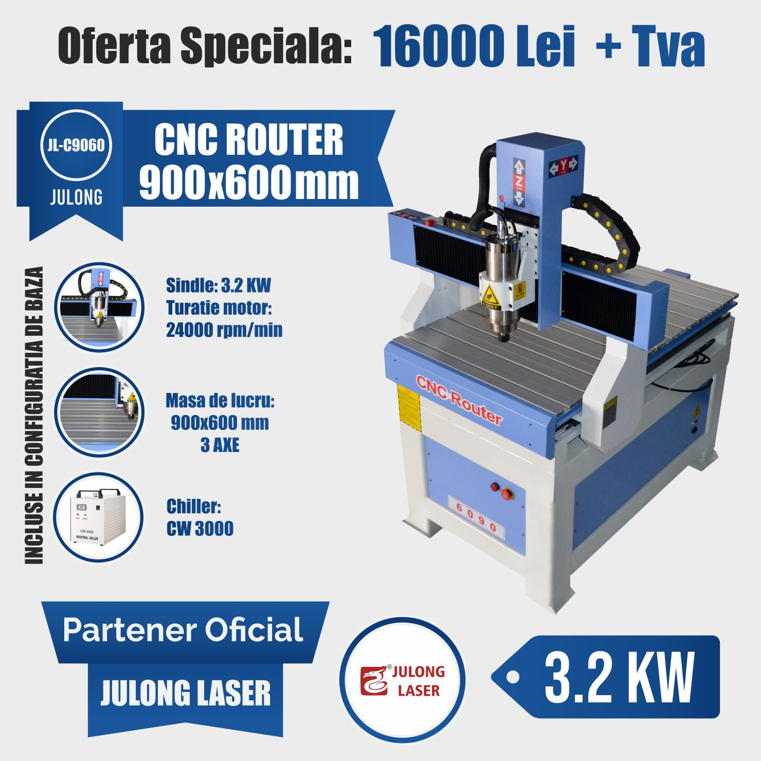 CNC Router 900x600 mm 3.2KW